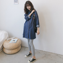 孕妇衬ar开衫外套孕ik套装时尚韩国休闲哺乳中长式长袖牛仔裙