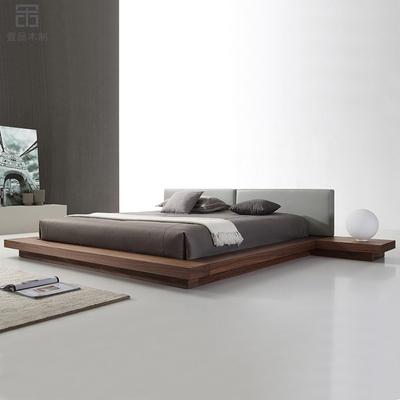 北欧榻榻米床简约日款落地矮床ar11胡桃木om软靠背双的床