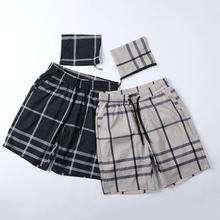 男士沙ar裤夏季宽松on纹格子短裤韩款休闲薄式男装五分裤W301
