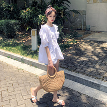 神装定ar 港风衬衫r3感(小)众甜美娃娃衫泡泡袖上衣女夏蓬蓬衫
