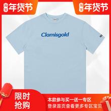 Claarisgolby二代logo印花潮牌街头休闲圆领宽松短袖t恤衫男女式