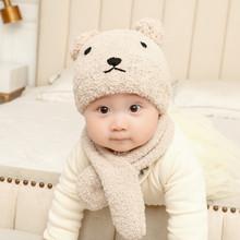 婴儿帽子冬季毛绒ar5巾套装男ic暖套头帽可爱儿童护耳加绒帽