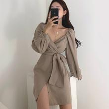 韩国caric极简主ic雅V领交叉系带裹胸修身显瘦A字型连衣裙短裙