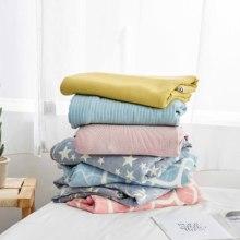 日式简ar纯棉办公室cl夏季空调毯单的双的夏天(小)毛毯