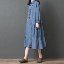 女秋装ar式2019ne松大码女装中长式连衣裙纯棉格子显瘦衬衫裙
