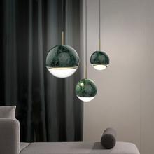 北欧大ar石个性餐厅ce灯设计师样板房时尚简约卧室床头(小)吊灯