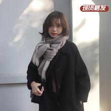 黑色大as胡楚靓(小)个en2020流行赫本风中长式过膝毛呢外套学生