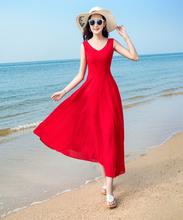 2021新款夏季无袖雪纺连衣裙波西米as15长裙气og度假沙滩裙