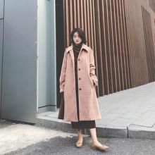 202as年冬新式韩st子毛呢外套女秋冬中长式加厚赫本风呢子大衣