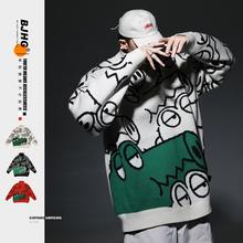 BJHas自制冬卡通rr领毛衣潮男2020新式宽松外穿加厚情侣针织衫