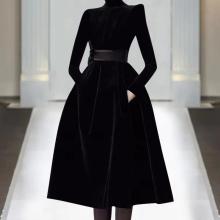 欧洲站as021年春an走秀新式高端女装气质黑色显瘦丝绒连衣裙潮