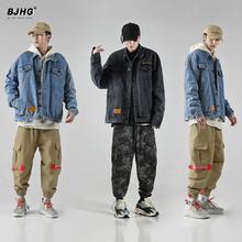 BJHas春季牛仔夹on牌欧美街头嘻哈百搭宽松工装HIPHOP刺绣外套