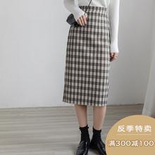 【反季as300减1nyEGGKA复古格子毛呢半身裙春中长式一步开叉裙