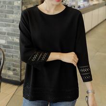 女式韩at夏天蕾丝雪87衫镂空中长式宽松大码黑色短袖T恤上衣t