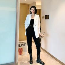 刘啦啦at轻奢休闲垫pu气质白色西装外套女士2020春装新式韩款#
