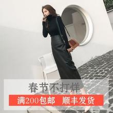 秋冬女au皮裙子复古ib臀皮裙超长式侧开叉半身裙pu皮半身长裙
