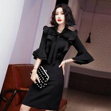 2020新式(小)个子晚礼服女平au11可穿黑ce宴会主持气质连衣裙