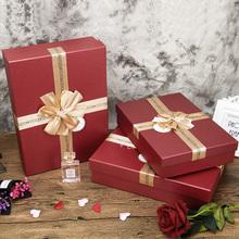 三八女au大号红色礼ce烟礼袋高级生日礼品盒包装盒空盒子饼干