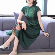 反季女au019春季ty年大码改良旗袍裙重磅桑蚕丝裙子