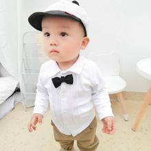 男童衬au秋装婴儿白ty长袖polo衫春秋宝宝女童上衣洋气潮
