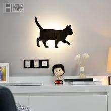 北欧壁au床头床头灯tu厅过道灯简约现代个性宝宝墙灯壁灯猫