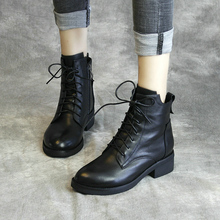 清轩2au20新式牛tu短靴真皮马丁靴女中跟系带时装靴手工鞋单靴