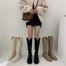白色长au马丁靴女鞋tu2021加厚加绒冬鞋高筒骑士牛仔靴长靴子