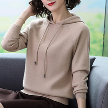 帽子衫au衣女201he时尚带帽卫衣短式套头针织衫上衣宽松打底衫