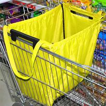 超市购au袋牛津布折he袋大容量加厚便携手提袋买菜布袋子超大
