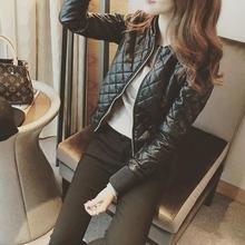 (小)个子au衣外套女2og秋冬新式修身夹棉加厚短式pu皮夹克高腰女士