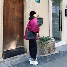 SHAauOW202um新式韩款轻薄宽松短式白鸭绒面包羽绒服女士(小)个子