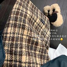 遮胯裙au2020网am女英伦格子高腰包臀裙中长式毛呢开叉半身裙