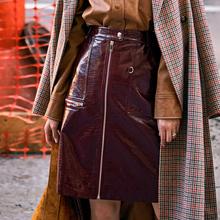 vimax原创爆式修lc秋冬新品百搭PU女装高腰裙子气质半身裙