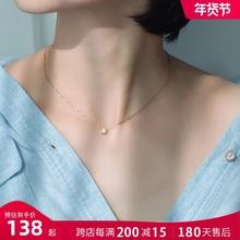 18kax钻石彩金项lc 锁骨链玫瑰金简约森系冷淡风大方装饰吊坠