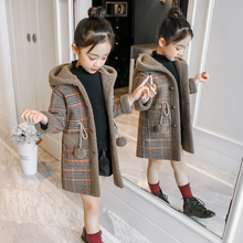 女童秋ax宝宝格子外lc童装加厚2020新式中长式中大童韩款洋气