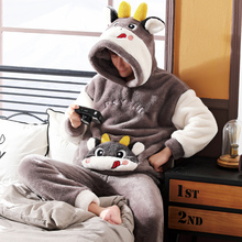 男士睡ax秋冬式冬季lc加厚加绒法兰绒卡通家居服男式冬天套装