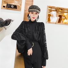 秋季上ax女韩款黑色lc法式设计感(小)众v领衬衫女短式港味(小)衫
