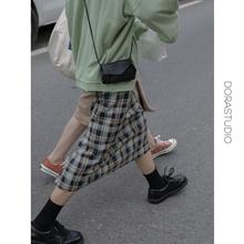 doraxstudilc格子半身裙中长直筒复古2020早秋新式开叉格纹包臀