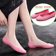 夏季雨ax女时尚式塑lc果冻单鞋春秋低帮套脚水鞋防滑短筒雨靴