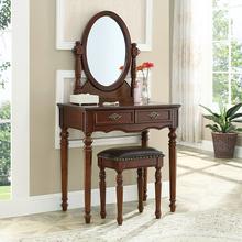 美式全ax木化妆桌欧lc化妆台网红梳妆桌(小)户型化妆镜子