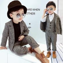 宝宝(小)ax服男宝礼服lc孩宝宝(小)童男童西装套装加绒三件套帅气