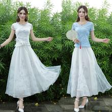 复古文艺ax1质修身短lc褶大摆雪纺印花半身长裙两件套女夏季