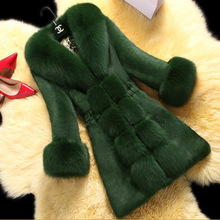 仿獭兔毛女士皮草 外套中长ax10201lc狸毛领大衣仿皮草