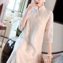 中国风ax装改良汉服lc很仙的连衣裙名媛文艺复古禅意茶服女春