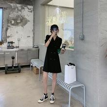 【胡楚ay】2021my天黑色收腰显瘦修身气质轻熟风西装连衣裙女