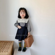 (小)肉圆ay02春秋式la童宝宝学院风百褶裙宝宝可爱背带裙连衣裙