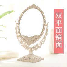欧式镜ay化妆镜台式nd舍桌面公主镜双面高清美容镜便携梳妆镜