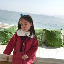 香港靓ay女童毛呢外nd式秋冬装韩款貂绒呢子夹棉大衣洋气