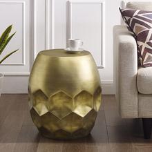 新中式ay角几轻奢金yu几创意沙发客厅边角茶几铜鼓凳金属墩子