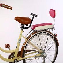 自行车ay座垫带靠背yu车货架后坐垫舒适载的宝宝座椅扶手后置